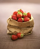 Strawberries in a paper bag