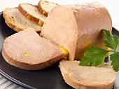 Goose liver pâté, partly sliced
