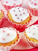 Iced, decorated cupcakes