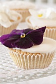 Cupcake with pansy