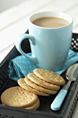 Rich tea biscuits and mug of tea (UK)