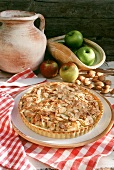 Swiss apple pie with flaxed almonds