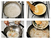 Preparing rice noodles in coconut milk with prawns and bean sprouts (Thailand)