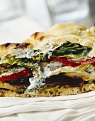 Naan bread sandwich with vegetables