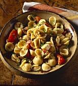 Orecchiette pasta with walnuts, Camembert and Gruyere
