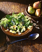 Mixed leaf salad with pears, artichokes and water chestnuts