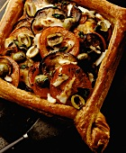 Aubergine and tomato tart with halloumi