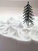Cake with snow icing and small fir tree