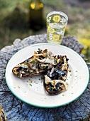 Fried mushrooms with crème fraîche on toast