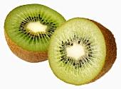 A halved kiwi fruit