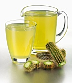 Cactus juice in glass and jug