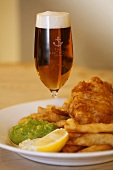 Pale ale with fish, chips and mushy peas