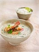Prawn curry with fresh coriander, rice (Thailand)
