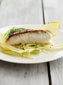 Haddock fillet on chicory salad