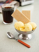 Vanilla ice cream with wafers