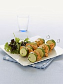 Salmon and courgette kebabs
