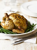 Roast chicken with green beans