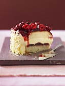 A piece of raspberry cream cake