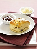Scone with jam and butter