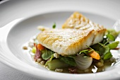 Halibut fillet on vegetables
