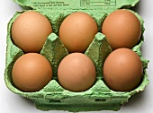 Six brown eggs in an egg box