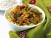 Vegetable curry with rice