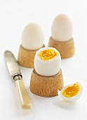 Boiled duck eggs in egg cups
