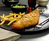 Battered haddock fillet with chips