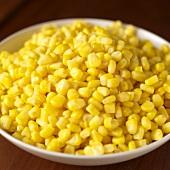 Sweetcorn kernels in dish