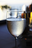 Glass of white wine with condensation