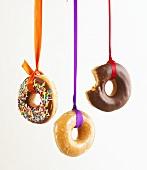 Hanging doughnuts for Halloween