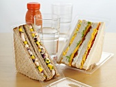 Sandwiches in plastic packaging to take away