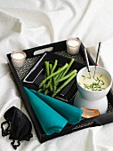 Asparagus fondue with chive dip for two