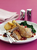 Duck leg with pomegranate seeds