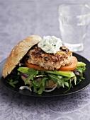 Chicken burger with avocado