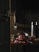 Frozen red gooseberries in a pantry