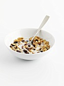 Bowl of muesli with milk and spoon