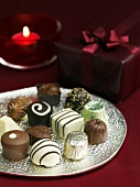Belgium chocolates on a silver plate (Christmas)