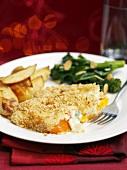 Pumpkin gratin with roast potatoes and broccoli (Christmas)
