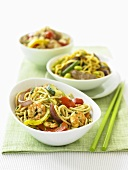 Different Asian noodle dishes