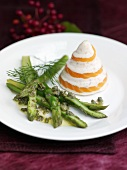 Salmon timbale with green asparagus