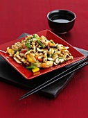 Asian vegetables noodles with cashew nuts