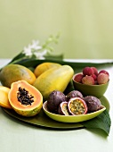 Different fresh exotic fruits