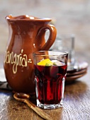 Sangria in a glass and stoneware jug (Spain)