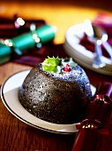 Christmas Pudding, decorated with holly