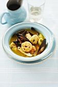 Seafood fish soup with saffron