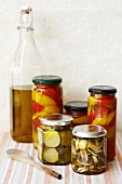 Pickled vegetables in jars