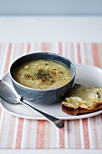 Celeriac soup with cheese toasts