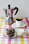 Chocolate truffles and cream to serve with coffee