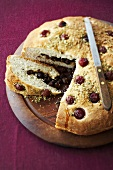 Yeast cake with aniseed and cherries